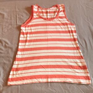 Gently Used Coral and White Stripe Gap Tank